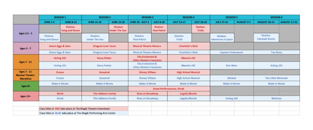 camp schedule calendar